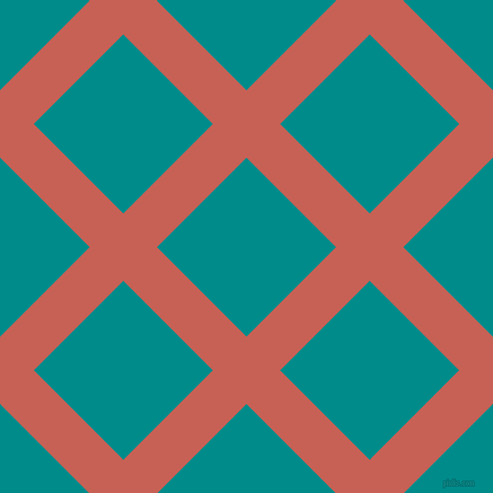 45/135 degree angle diagonal checkered chequered lines, 53 pixel line width, 141 pixel square size, Sunglo and Dark Cyan plaid checkered seamless tileable
