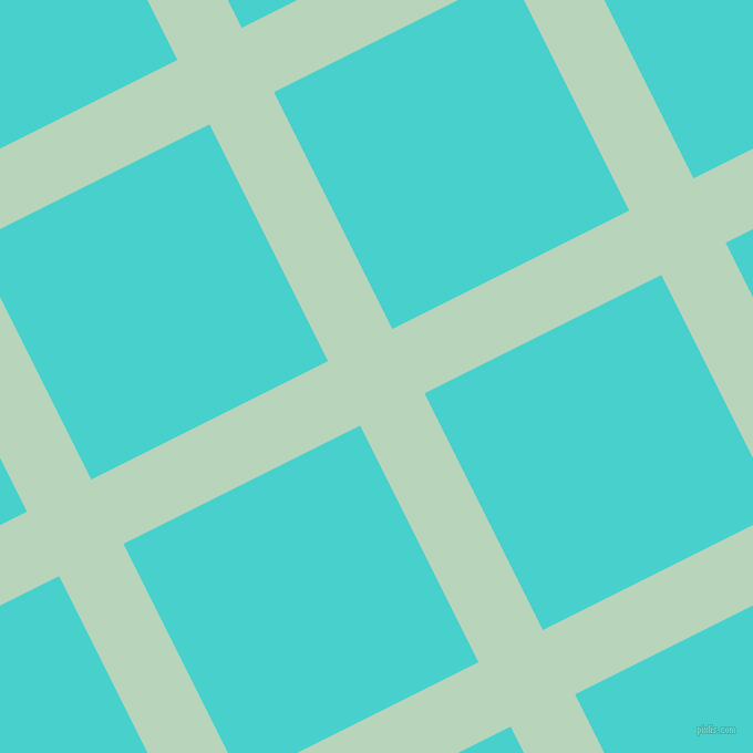 27/117 degree angle diagonal checkered chequered lines, 65 pixel line width, 239 pixel square size, Surf and Medium Turquoise plaid checkered seamless tileable