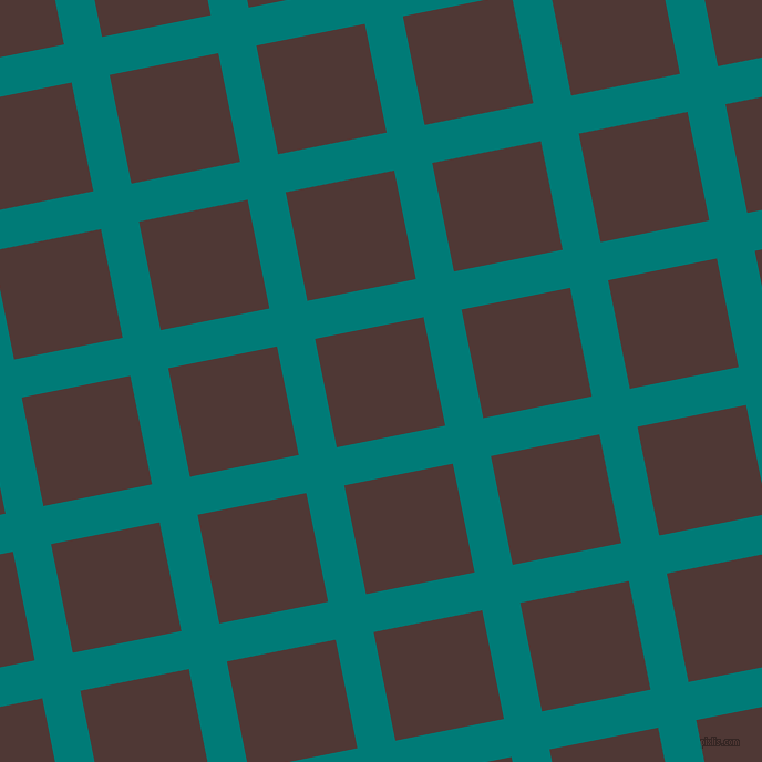 11/101 degree angle diagonal checkered chequered lines, 35 pixel line width, 100 pixel square size, Surfie Green and Cocoa Bean plaid checkered seamless tileable