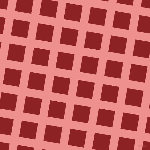 81/171 degree angle diagonal checkered chequered lines, 34 pixel line width, 68 pixel square size, Sweet Pink and Mandarian Orange plaid checkered seamless tileable