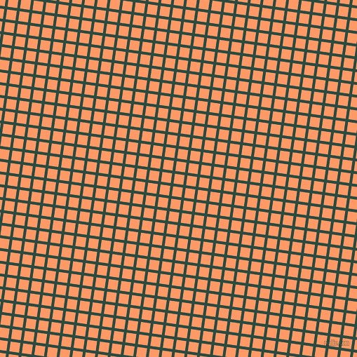 82/172 degree angle diagonal checkered chequered lines, 4 pixel lines width, 14 pixel square size, Te Papa Green and Atomic Tangerine plaid checkered seamless tileable