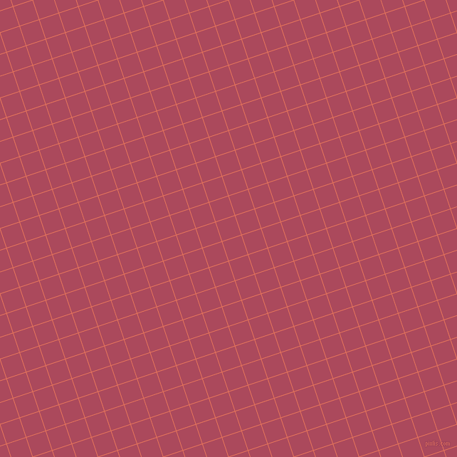 18/108 degree angle diagonal checkered chequered lines, 1 pixel lines width, 28 pixel square size, Terra Cotta and Hippie Pink plaid checkered seamless tileable