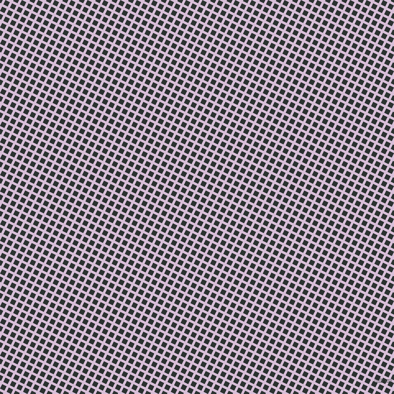 63/153 degree angle diagonal checkered chequered lines, 5 pixel line width, 10 pixel square size, Thistle and Woodsmoke plaid checkered seamless tileable