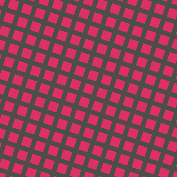 72/162 degree angle diagonal checkered chequered lines, 16 pixel lines width, 32 pixel square size, Thunder and Cerise plaid checkered seamless tileable