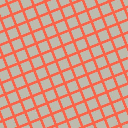 22/112 degree angle diagonal checkered chequered lines, 8 pixel lines width, 30 pixel square size, Tomato and Grey Nickel plaid checkered seamless tileable