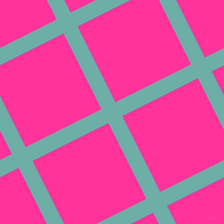 27/117 degree angle diagonal checkered chequered lines, 50 pixel line width, 273 pixel square size, Tradewind and Wild Strawberry plaid checkered seamless tileable