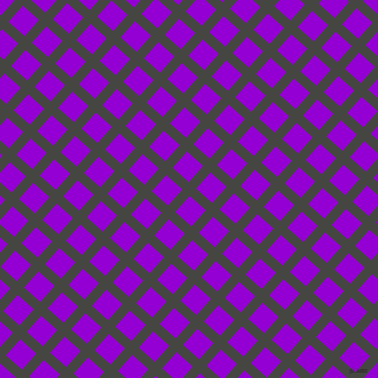 48/138 degree angle diagonal checkered chequered lines, 20 pixel lines width, 44 pixel square size, Tuatara and Dark Violet plaid checkered seamless tileable