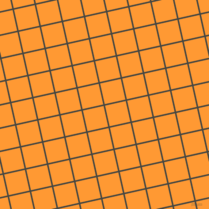 13/103 degree angle diagonal checkered chequered lines, 5 pixel lines width, 69 pixel square size, Tuatara and Neon Carrot plaid checkered seamless tileable