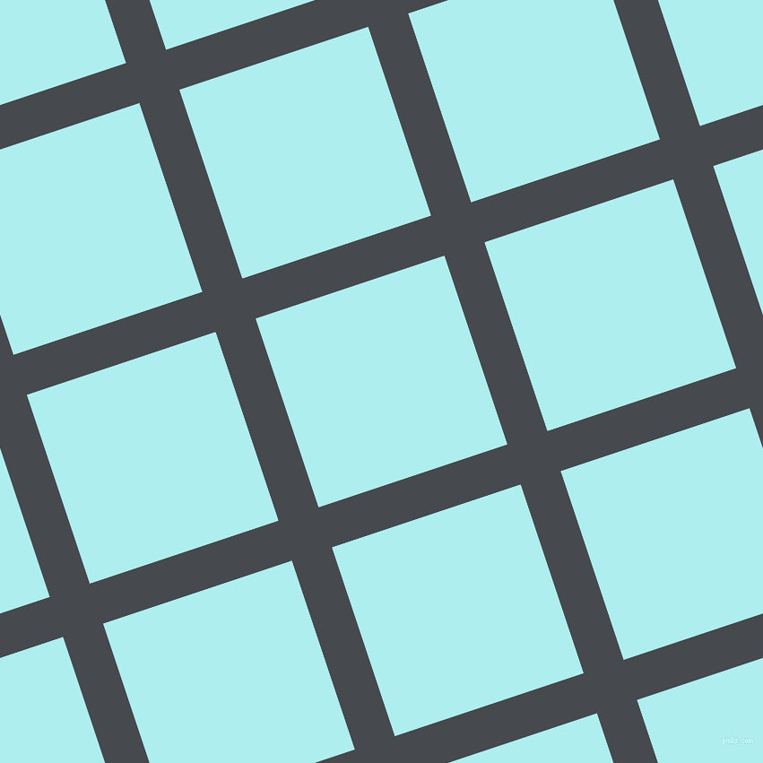 18/108 degree angle diagonal checkered chequered lines, 47 pixel lines width, 222 pixel square size, Tuna and Pale Turquoise plaid checkered seamless tileable