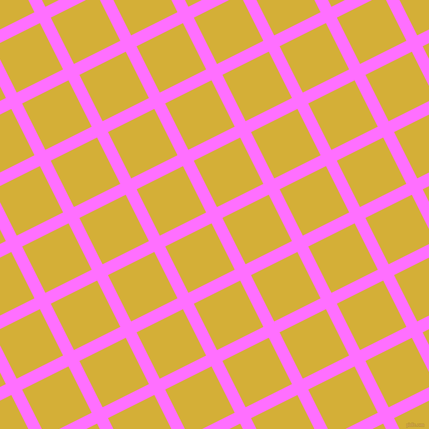 27/117 degree angle diagonal checkered chequered lines, 24 pixel line width, 102 pixel square size, Ultra Pink and Metallic Gold plaid checkered seamless tileable