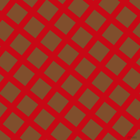 51/141 degree angle diagonal checkered chequered lines, 24 pixel line width, 60 pixel square size, Venetian Red and Korma plaid checkered seamless tileable