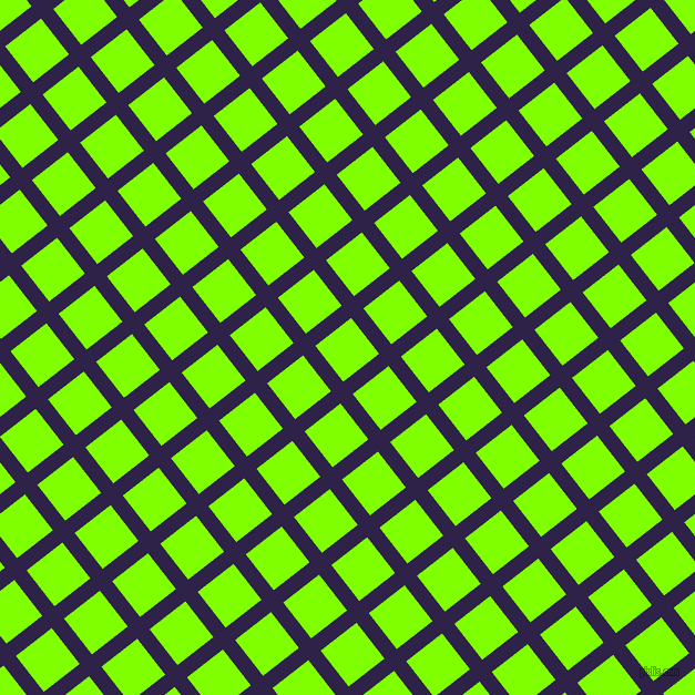 38/128 degree angle diagonal checkered chequered lines, 14 pixel line width, 41 pixel square size, Violent Violet and Chartreuse plaid checkered seamless tileable