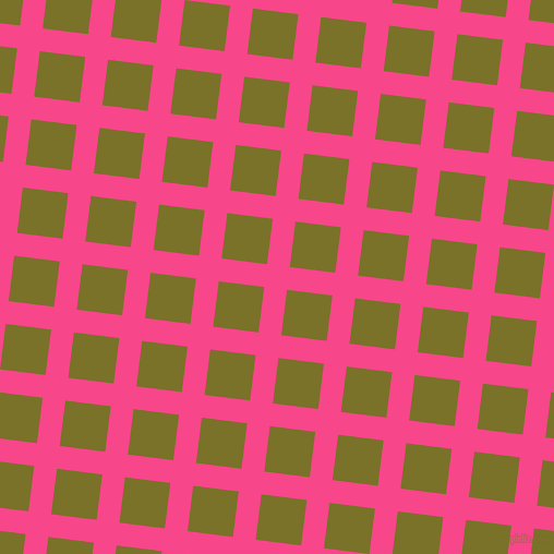 83/173 degree angle diagonal checkered chequered lines, 21 pixel lines width, 42 pixel square size, Violet Red and Pesto plaid checkered seamless tileable