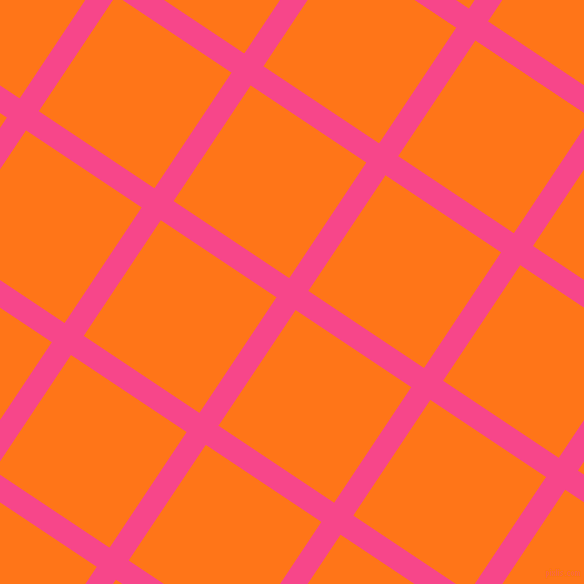56/146 degree angle diagonal checkered chequered lines, 23 pixel line width, 139 pixel square size, Violet Red and Pumpkin plaid checkered seamless tileable
