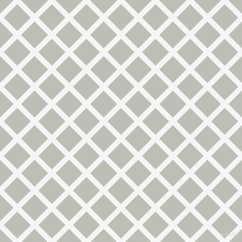 45/135 degree angle diagonal checkered chequered lines, 11 pixel line width, 39 pixel square size, White Smoke and Silver Sand plaid checkered seamless tileable