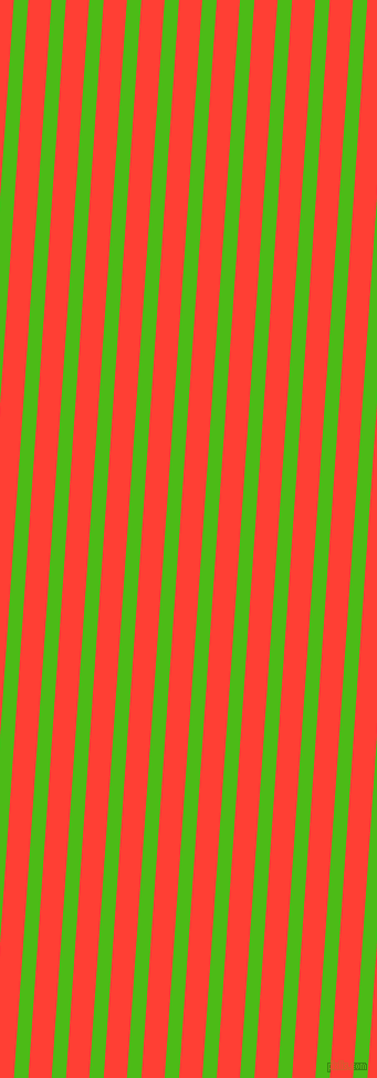 86 degree angle lines stripes, 13 pixel line width, 21 pixel line spacing, Kelly Green and Red Orange stripes and lines seamless tileable